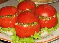Вегетарианские закуски Помидоры фаршированные овощами