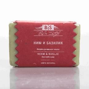 """Ним-Базилик - 100% натуральное органическое банное мыло изготовлено на основе древней аюрведической рецептуры """"Элаади Гагам"""" и масла ним."""