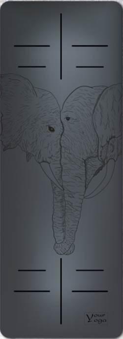 Коврики для Йоги. Премиум коврик для йоги «Elephants» black