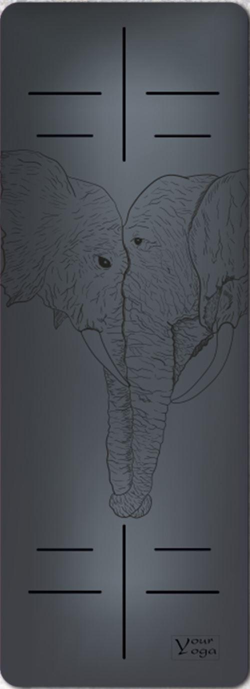 Премиум коврик для йоги Elephants black