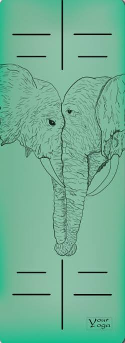 Йога-коврики. Премиум коврик для йоги «Elephants» green