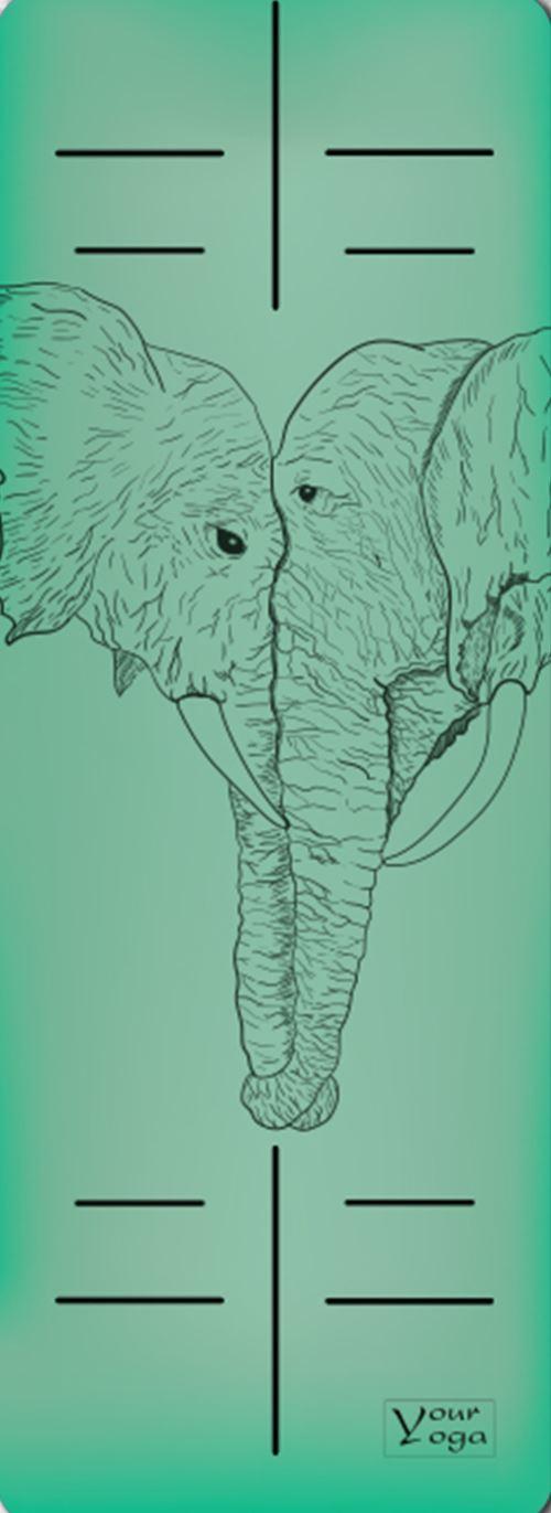Премиум коврик для йоги Elephants green