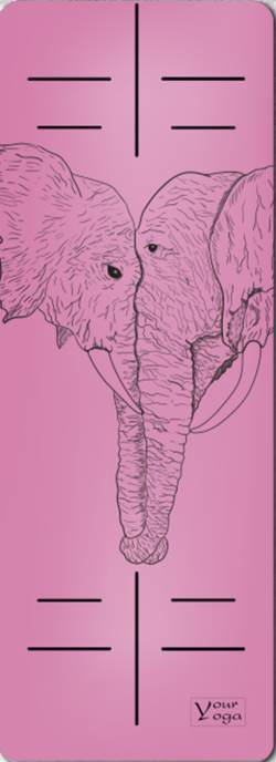 Йога-коврики. Премиум коврик для йоги «Elephants» pink