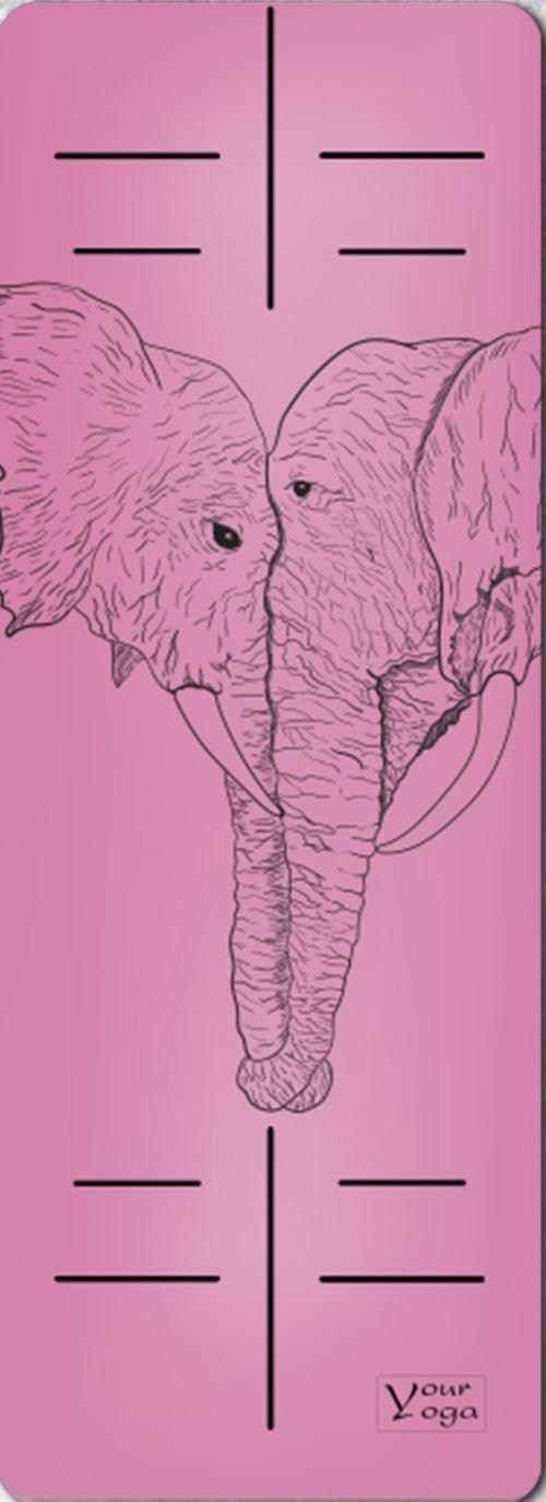 Премиум коврик для йоги Elephants pink